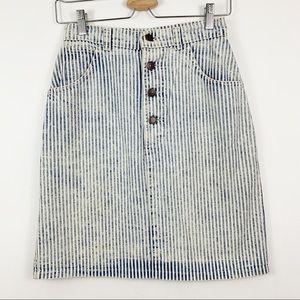Hunt Club Striped Denim Skirt 2 Button Front 1990s